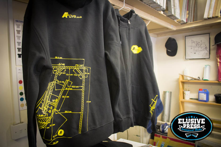Single colour screen printed hoodies and t shirts for af live