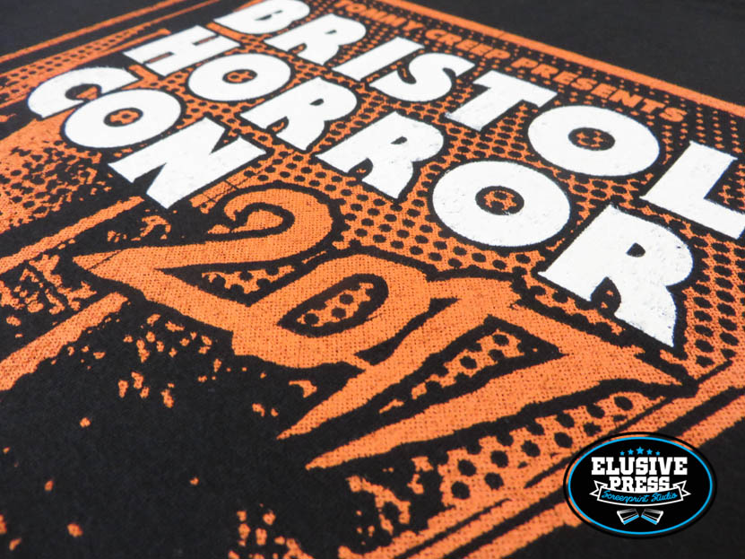 Screen printed t shirts for bristol horror con