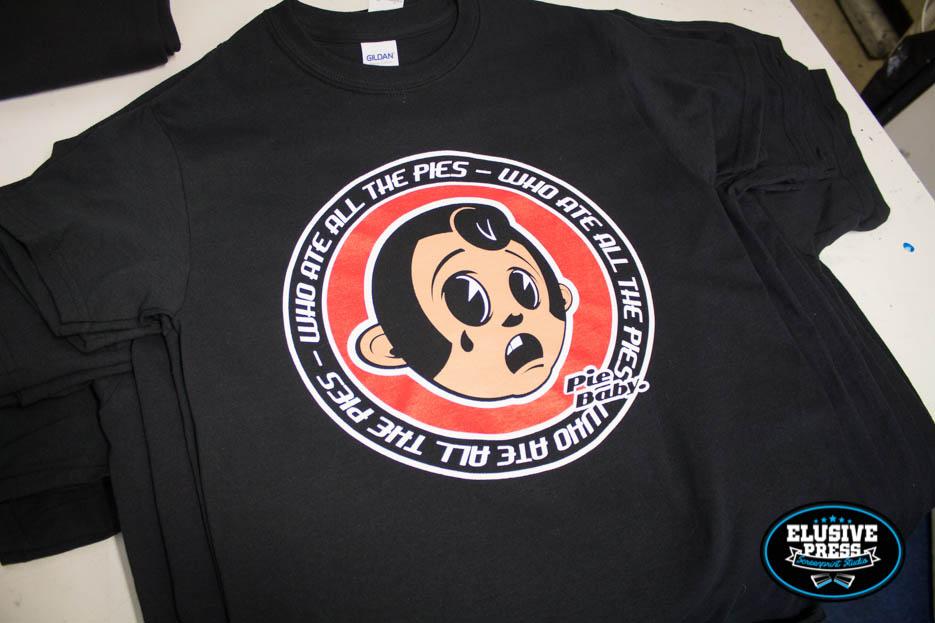 3 colour screen printing on black t-shirts