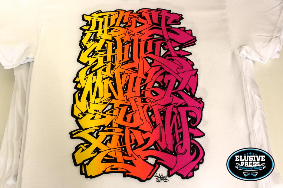 'Inkie' 4 colour Alphabet t-shirt prints