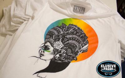 Screen Printed T shirts For Bristol Based Artist 'Miss Hazard'