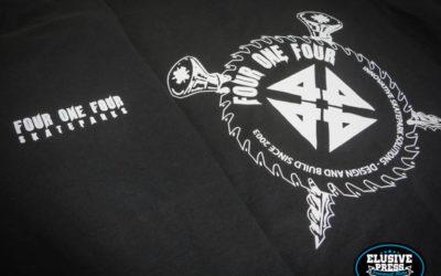 Single Colour T-Shirt Printing For 'Four One Four Skate Parks'