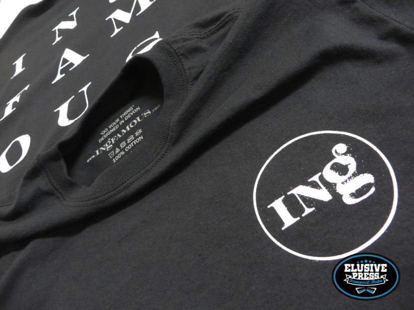 Single Colour T Shirt Printing For 'Ingfamous' Independent Clothing Brand