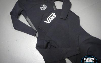 Wetsuit Screen printing – Custom 'Vans' logos for Seb Smart
