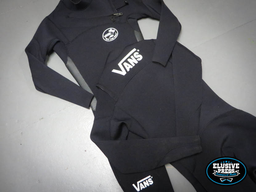 Wetsuit Screen printing – Custom 'Vans' logos for Seb Smart